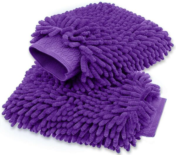 Microfiber Car Wash Mitts Double Side Chenille Premium Scratch Free  2 pack $10.99