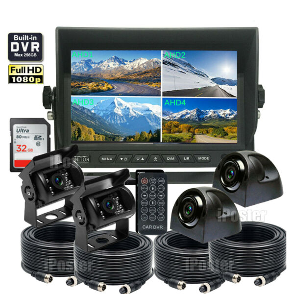 7quot; Monitor Car Truck Backup Cameras*4 System Quad Split Screen With DVR recorder $209.00