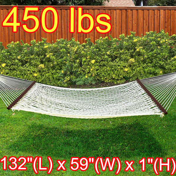 2 Person Cotton Rope Hammock Double Replacement Wood Spreader Bar Carrying Case