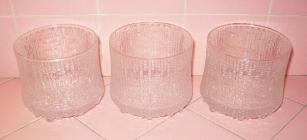 Vintage Iittala Ultima Thule 3 Double Old Fashioned Glasses Finland Mid Modern $95.00
