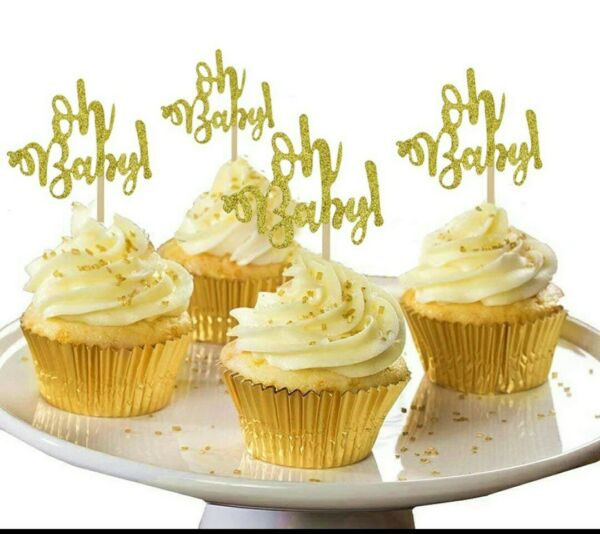 Oh Baby Cupcake Toppers 10pcs Gold Glitter Cardstock Free Shipping fr NYC
