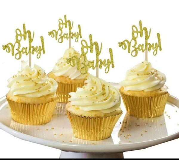 Oh Baby Cupcake Toppers 20pcs Gold Glitter Cardstock Free Shipping fr NYC