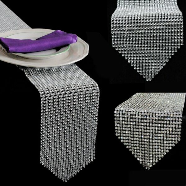 Bling Sparkly Diamond Table Runners Mesh Crystal Rhinestone Wedding Party Decor