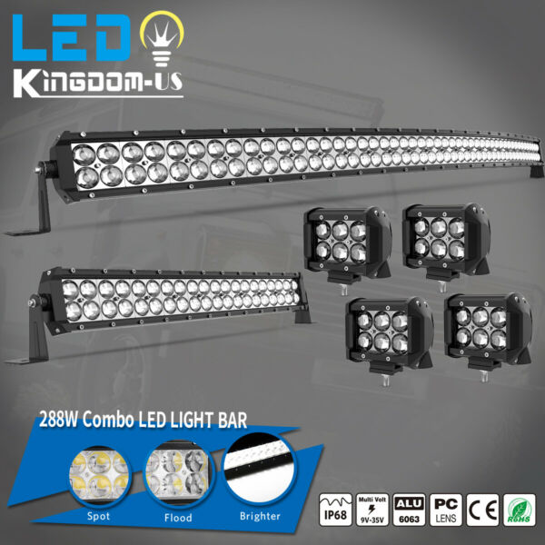 50inch LED Light Bar Curved 52#x27;#x27;22#x27;#x27; Combo 4#x27;#x27; Pods Offroad fit Dodge Ram 1500