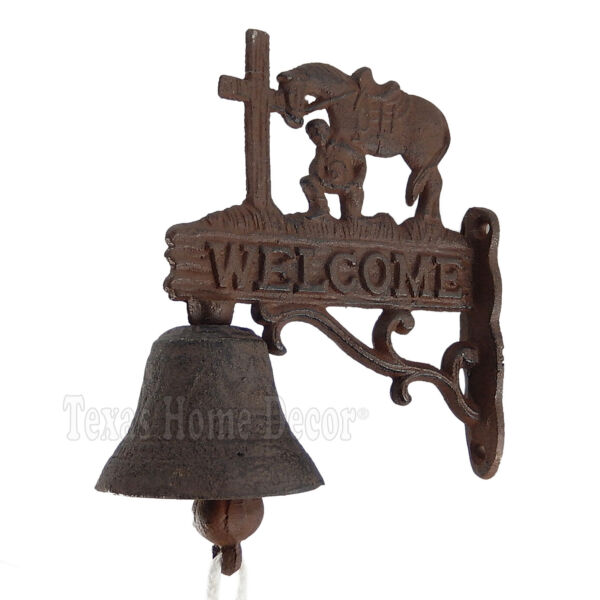 Welcome Dinner Bell Praying Cowboy Cast Iron Wall Mounted Western Antique Style $18.95
