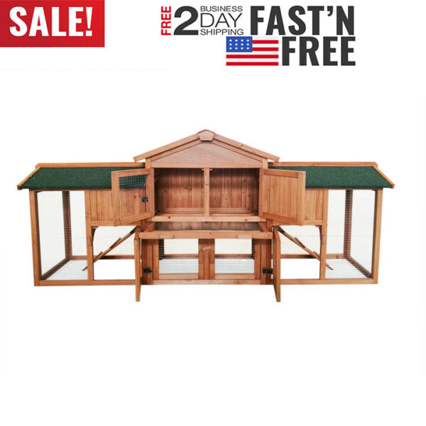 2 Tiers Rabbit Chicken Coop Pet Cage Wood House Shed Outdoor Small Pet Case US