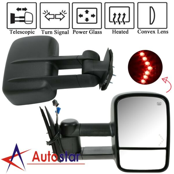 Power LED Signal Towing Mirrors Pair For 07-13 Chevy Silverado 150025002500HD