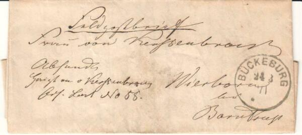 German Military Mail Franco Prussian War 1871 Buckeburg cancel Stampless letter