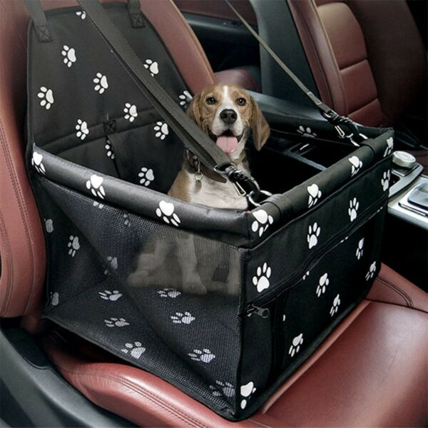 Collapsible Pet Dog Booster Car Seat Cat Car Carrier And Zipper Storage Pocket $18.88