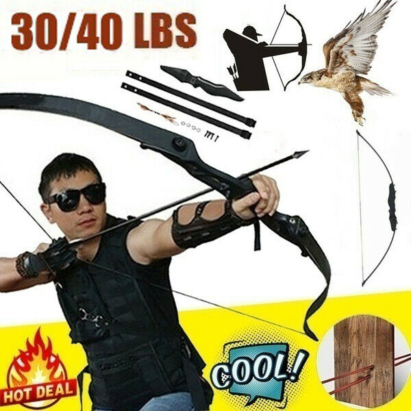 30 40lbs Archery Recurve Bow Takedown Hunting Target Longbow Training Practice