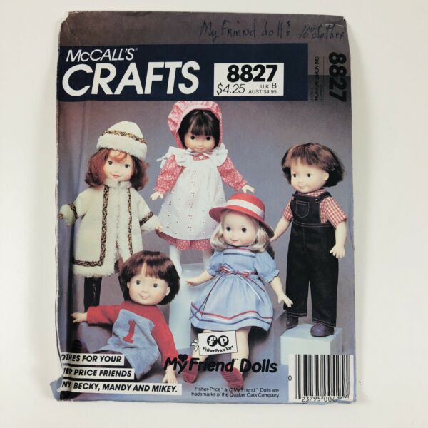 McCalls 8827 705 Sewing Pattern My Friend Dolls Clothing Fisher Price UNCUT FF