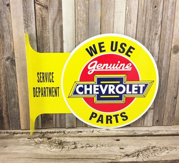 Chevrolet Chevy Parts Large Flange Yellow Metal Tin Sign Vintage Garage Man Cave $34.95