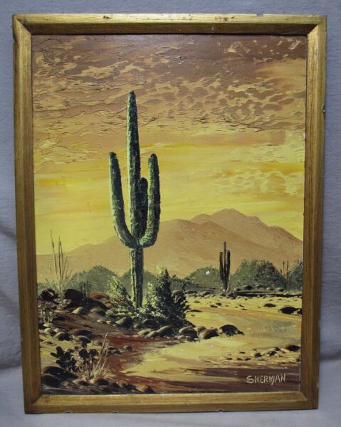 Leo Sherman Arizona Desert Sunset Saguaro Cactus Oil Painting Listed Artist