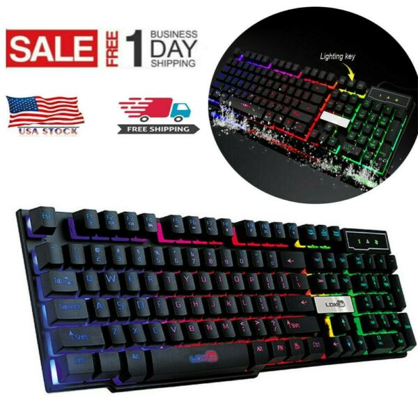 7 Color Backlit Pro Gaming USB Keyboard Multimedia Illuminated LED USB Wired