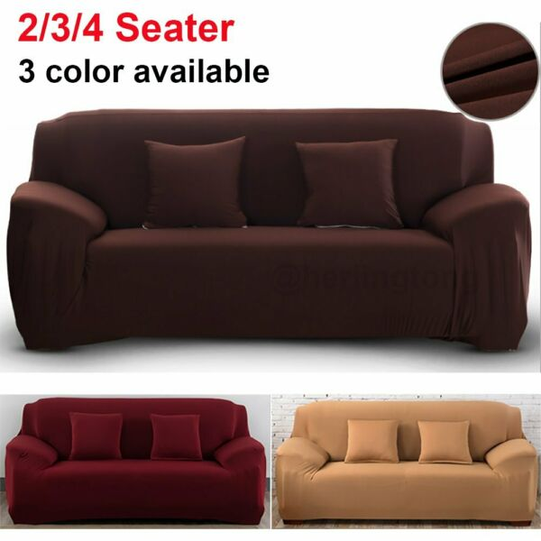 2 3 4 Seat Solid Color Sofa Cover Stretch Seat Couch Covers Funiture Slipcovers $24.56