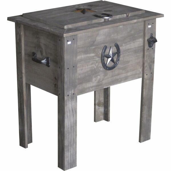 54 Qt. Barn Wood Board Country Cooler Ice Chest Vintage Outdoor Bottle Opener $134.99