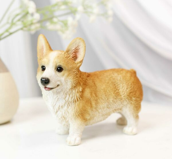 Lifelike Realistic Pembroke Welsh Corgi Puppy Dog Figurine With Glass Eyes 4.5quot;H $25.99