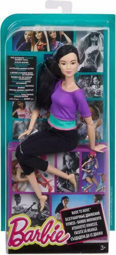 Made to Move Yoga Asian Barbie PURPLE Top BLACK Hair Articulated Doll NRFB NEW
