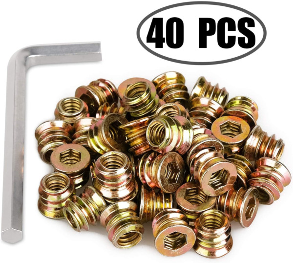 40Pcs Anwenk 1 4quot; 20 x 10mm Furniture Screw in Nut Threaded Wood Inserts Bolt $11.72