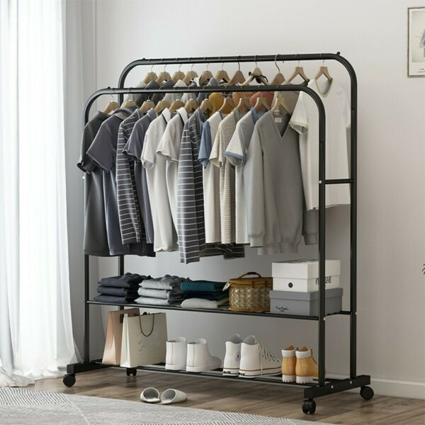Clothing Garment Rack Heavy Duty Clothes Stand Closet Storage Shelf With Wheels