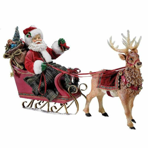 Santa Claus in Sleigh with Reindeer Fabriche Christmas Figurine 10 Inch C7339 $79.94