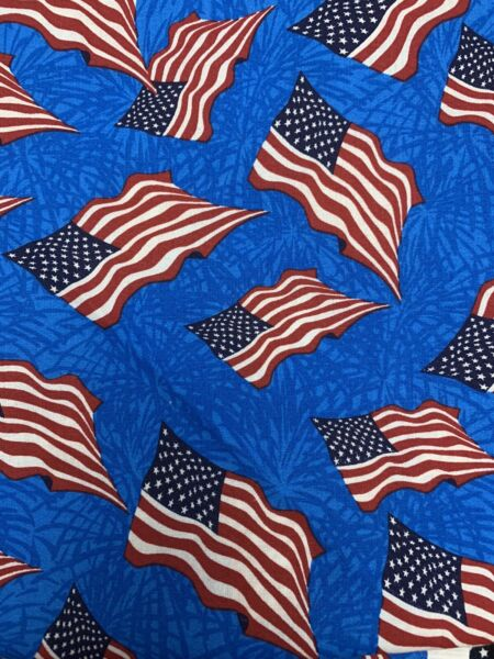 America Flag Usa Flag Cotton Fabric Red White And Blue