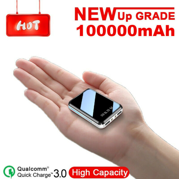 High Capacity 100000mAh Ultra Compact Mini Power Bank Portable Charger Battery