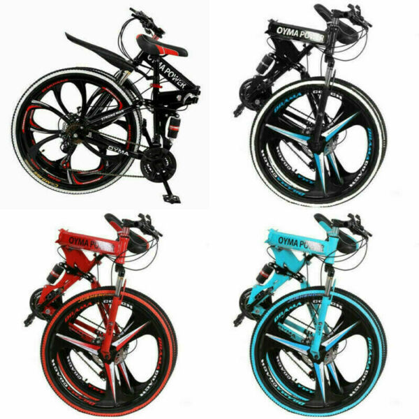 26quot; Folding Mountain Bike 21 Speed Full Suspension Bicycle Carbon Steel MTB NEW $198.88