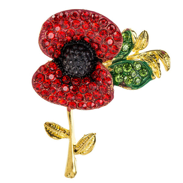 Poppy Brooch Flower Pin Badges Red Rhinestone Poppies Gift Remembrance Beautiful