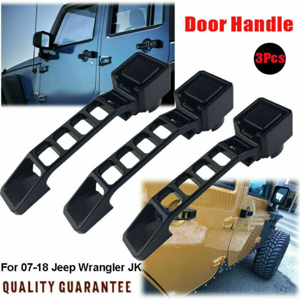 Black Aluminum Exterior Outer Door Handles 3 Kit for 07 18 Jeep Wrangler JK JKU