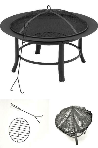 28quot; Round Outdoor Wood Burning Fire Pit Backyard Patio Black W Mesh Spark Guard