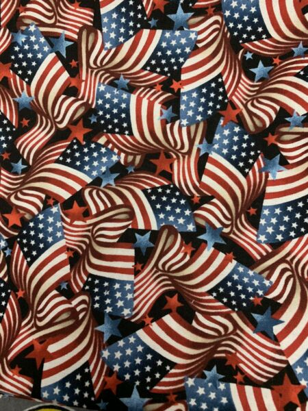 American Flag Cotton Fabric Red White Blue Stars