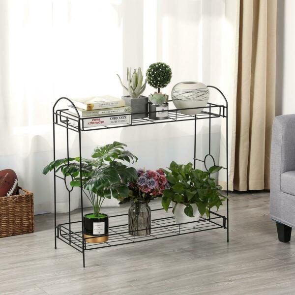 2 Tier Indoor Outdoor Metal Plant Stand Flower Pots Holder Plant Display Rack