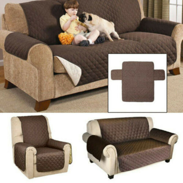 1 2 3 4 Seater Slipcover Reversible Recliner Chair Loveseat Sofa Cover Couch Mat $22.79
