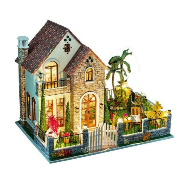DIY Miniature Dollhouse Kit Mini 3D Wooden House with Furniture LED Lights Gifts