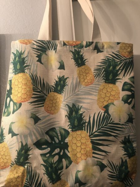 Pineapple Burlap Tote bag 15in X 12in Ships From Hawaii BNWT