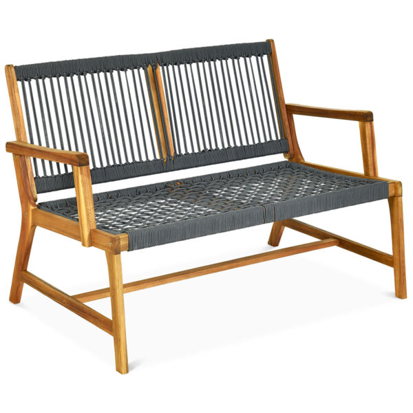 2 Person Outdoor Acacia Wood Bench Patio Loveseat Rope Bench $129.95
