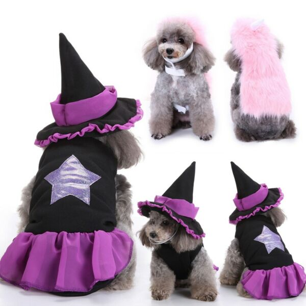 Funny Halloween Pets Vampire Wizard Costumes Dogs Cats Clothes Suit With Hat $7.51