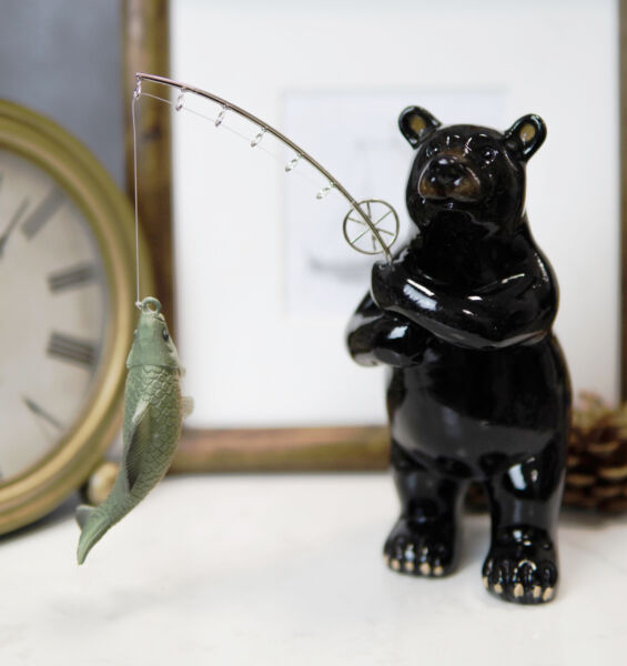 Western Rustic Black Bear Fishing Largemouth Bass Figurine Decorative Bears