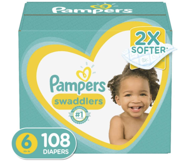 Pampers Swaddlers Disposable Baby Diapers Size 6 108 counts 2x Softer $68.95