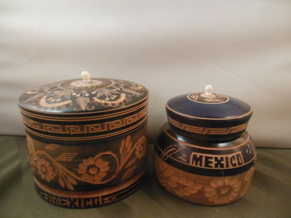 2 Carved Wooden Boxes with Lids made in Mexico