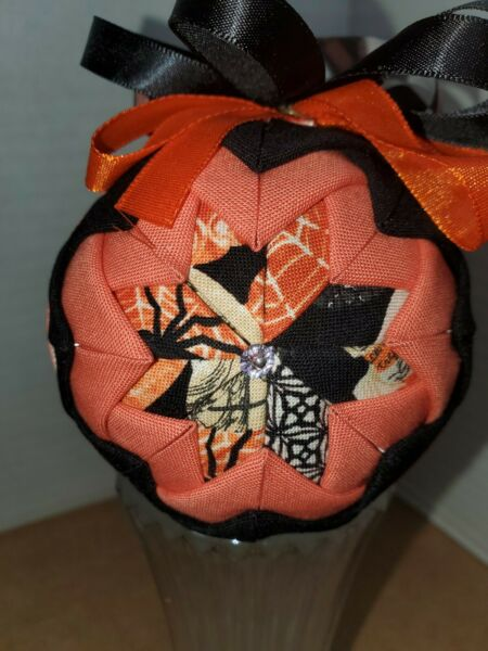 ORNAMENT FABRIC HANDMADE UNIQUE HALLOWEEN SILVER VEINED SPIDER WEB AND RIBBON $15.00