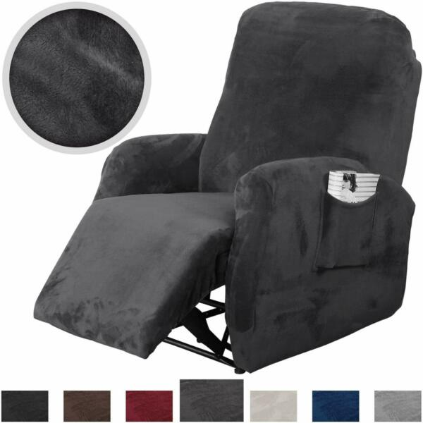 4 Pieces Stretch Recliner Slipcover Fit Furniture Chair Cover with Side Pocket $27.54