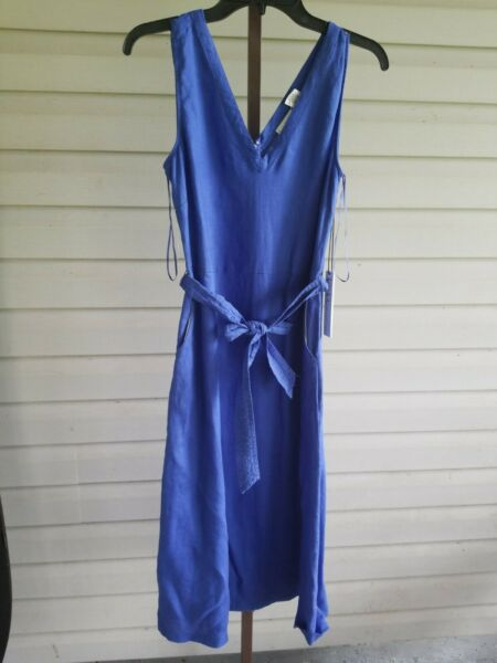 NICOLE MILLER BLUE LINEN FIT amp; FLARE MIDI DRESS V Neck Pockets Belted 8 NWT$119 $39.99
