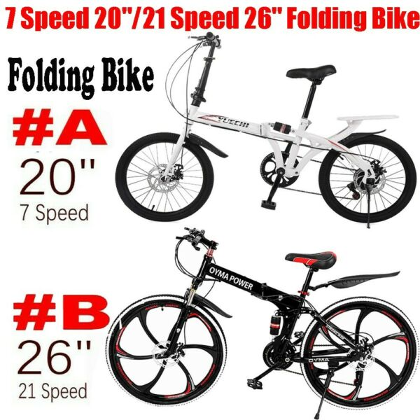 7 Speed 20quot; 21 Speed 26quot; Folding Bike Outdoor Double Disc Brake Bicycles Bike $155.99