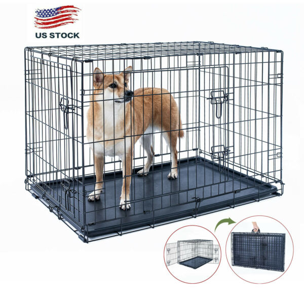 42quot; Dog Crate Kennel Folding Metal Pet Cage 2 Door With Black Plastic Tray $55.09