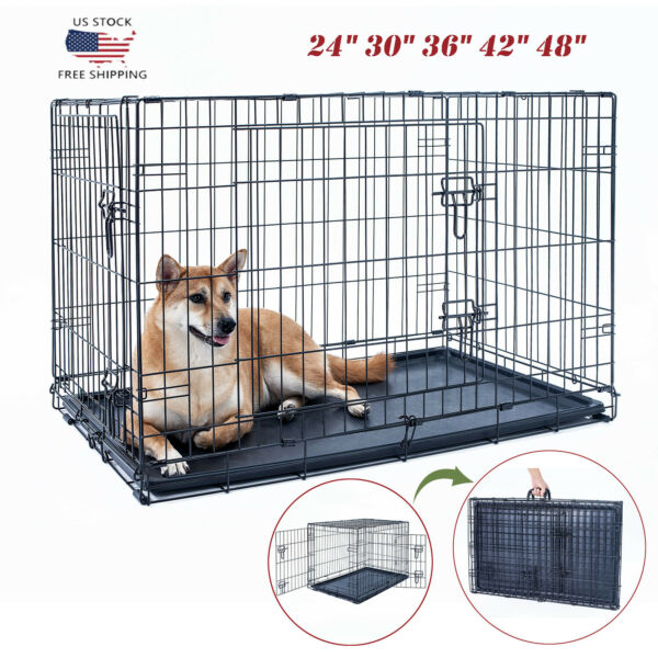 24quot;30quot;36quot;42quot;48quot; Dog Crate Kennel Folding Metal Pet Cage 2 Door With Tray Black $39.89