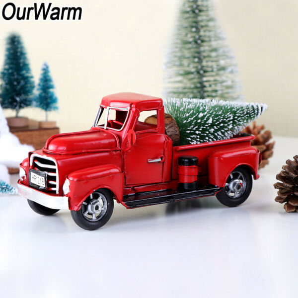 Vintage Red Metal Truck Kids Gifts Christmas Party Table Top Decor for Home $16.95