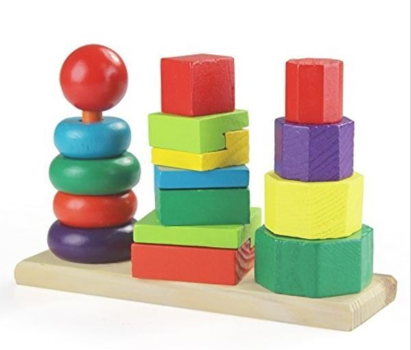 Montessori Wooden Stacking Toy and Shape Towers for Babies and Toddlers $13.95