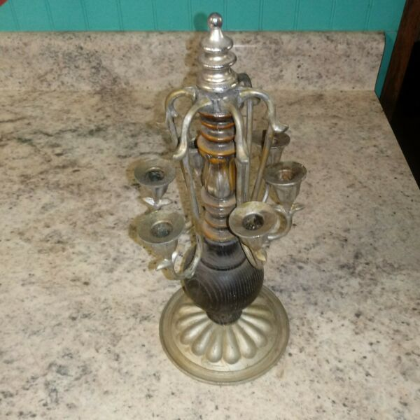 Vintage Antique Candelabra 6 Holders Silver Tone Metal Wood Material Candle Hold $28.99